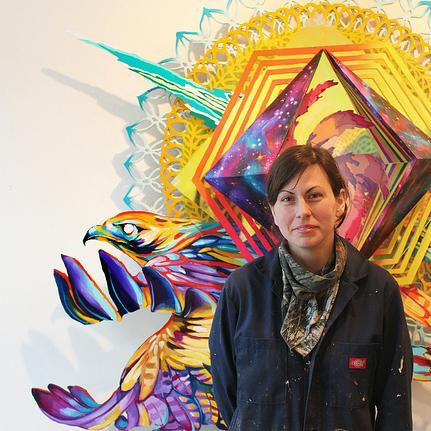 Artist Hilary White in her studio