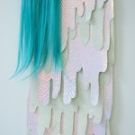 Hilary White creates art for the Twelve Gates Series using glitter, holographic surfaces, plastic, hand cut wood, paint, hair, jewelry embelishments and found object.