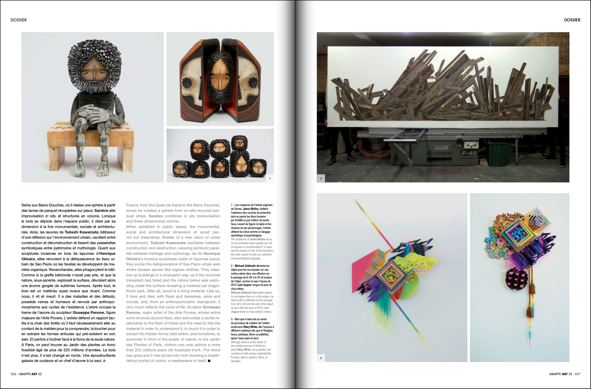 Hilary White in Graffiti Art Magazine, woodworking article, Into the Wood, Twelve Gates Series