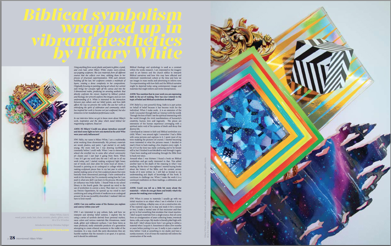 Hilary White Art, ArtMaze Mag London. Interview in Art Magazine. Biblical symbolism.