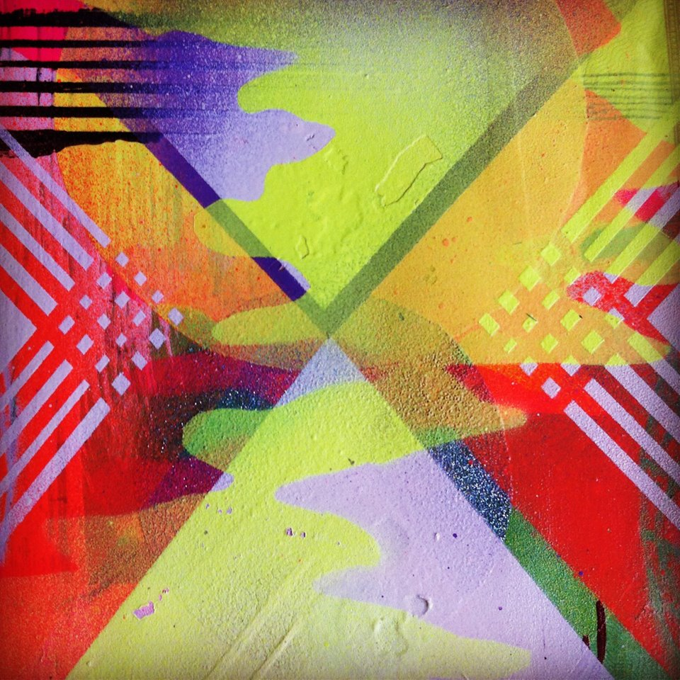 Hillary White Art, Hillarywhiteart, Space 1026, July exhibition, florescent paint, montana spray paint, holographic universe
