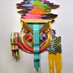 Hilary White sculpture In Finite for the art series SEER using wood glitter paint