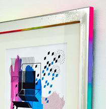 Hilary White art frame custom built silver rainbow frame