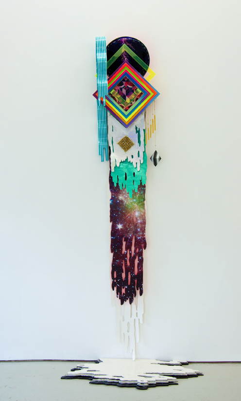 Hilary White creates art for the series The Twelve Gates using hand cut wood, plastic, holographic cloth, glitter, and paint