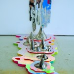 Gate Five by Hilary White art uses glitter, hair, and florescent colors with mirrored surfaces